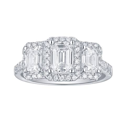 Lab Grown Diamond Emerald 3 Stone Ring, 2 1/2 Ctw 14K White Gold by Smiling Rocks, Size 7