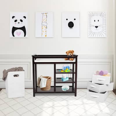 Kinbor Baby Changing Table - Infant Diaper Station Nursery Organizer with Hamper, 3 Baskets and Changing Table Pad (Brown)