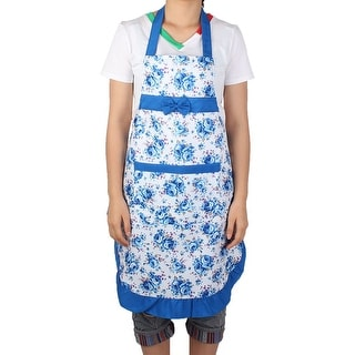 Household Kitchen Flower Printed Bow Cooking Apron Bib Pocket Dress Blue White