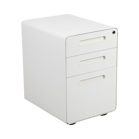 Offex Filing Cabinet with Hanging Drawer for Legal&Letter Files -White