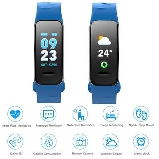 Fitness Tracker Heart Rate Monitor Watch Blood Pressure Waterproof Smart Wristband, Blue