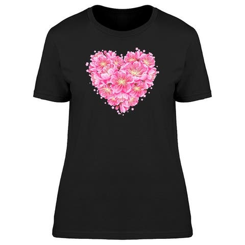Sakura Flowers Heart Shape Tee Women's -Image by Shutterstock