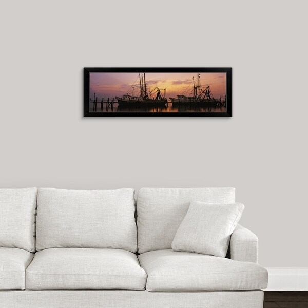 """Fishing boats in a river, Amelia River, Fernandina Beach, Nassau County, Florida"" Black Framed Print"