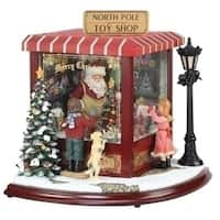 "14.5"" LED Lighted Animated Musical North Pole Christmas Toy Shop Table Top Decoration - RED"