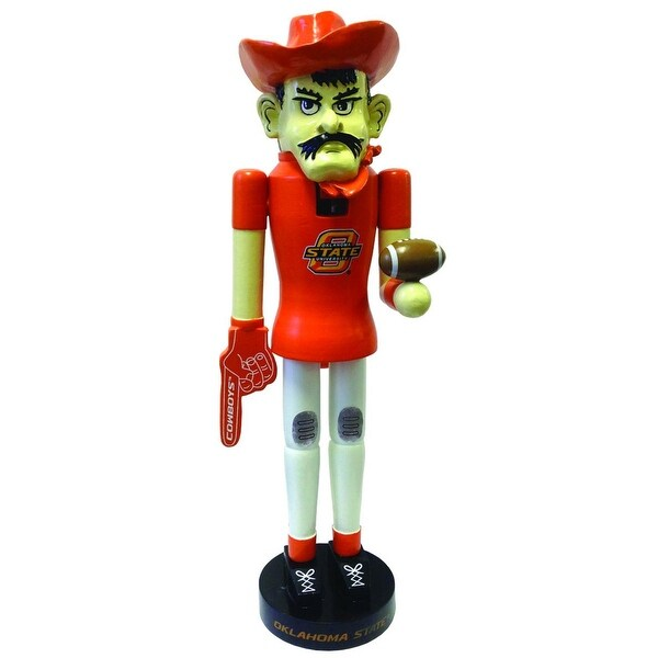 NCAA Oklahoma State Cowboys Football Mascot Decorative Wood Christmas Nutcracker - ORANGE