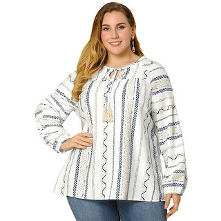 Link to Women's Plus Size Tops Tie Up V Neck Boho Chiffon Blouse - White Similar Items in Tops