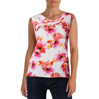 Kasper Womens Blouse Floral Print Pleated