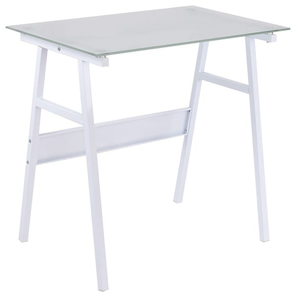 shop costway white computer desk writing table glass top metal leg study decor home office. Black Bedroom Furniture Sets. Home Design Ideas