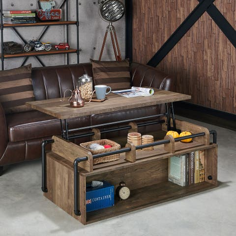 Carbon Loft Callis Industrial Brown Lift Top Coffee Table