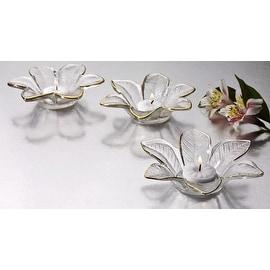 Studio Silversmiths Set of 3 Flower Votives w/ Gold Trim