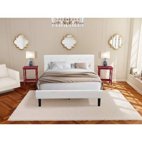 3 Piece Bedroom Set - 1 Platform Bed White Velvet Fabric and 2 Night Stands - Burgundy Finish Nightstand