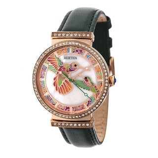 Bertha Emily Women's Quartz Watch, Mother of Pearl Dial, Genuine Leather Band, Luminous Hands