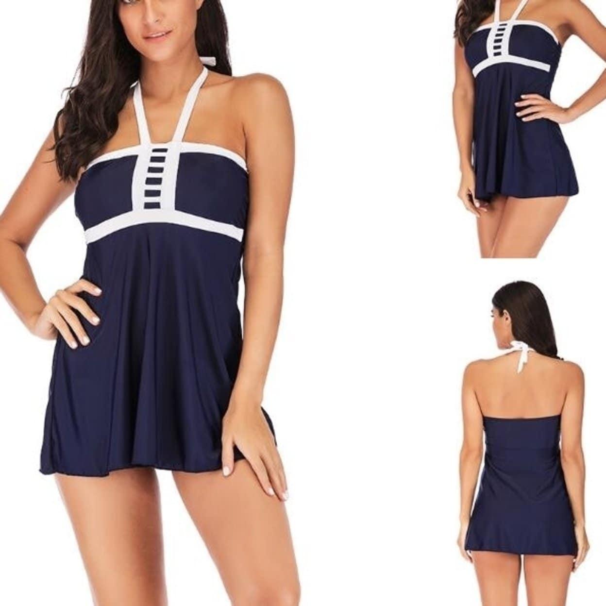 Womens One Piece Plus Size Swimming Bathing Suits Swimdress Halter Swimwear  Tummy Control Skirt Swimsuit