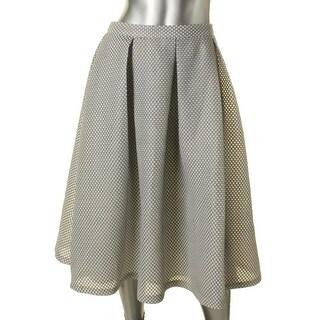 Aqua Womens Pleated Skirt Mesh Overlay Pattern - L
