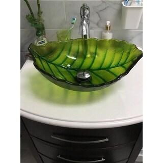 Shop Elite Spring Leaves Design Tempered Glass Bathroom