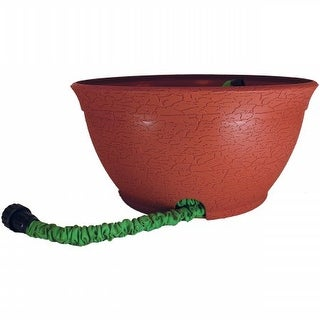 Hose Hider Distressed Pot for Expandable Hose, Terra Cotta