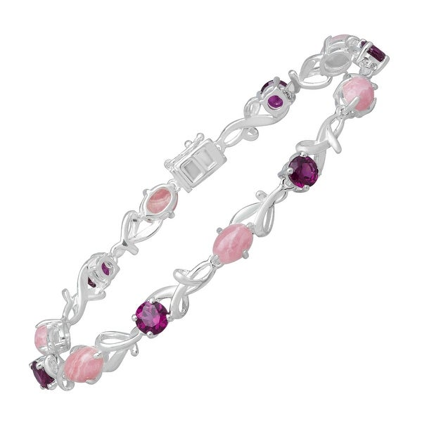 7 ct Rhodochrosite and Rhodolite Garnet Filigree Bracelet in Sterling Silver - Pink