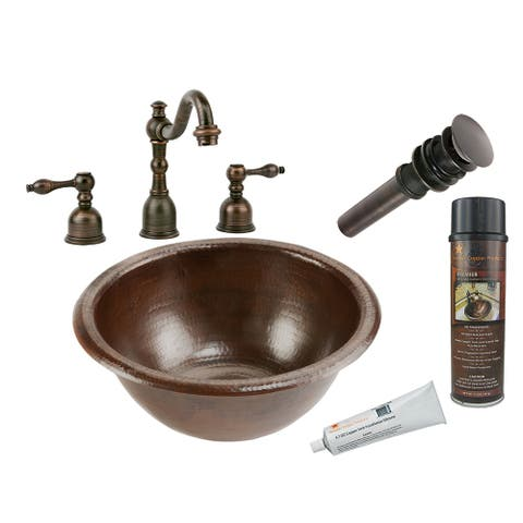 Premier Copper Products BSP2_LR14RDB Bathroom Sink, Widespread Faucet and Accessories Package