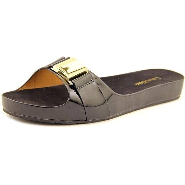 Calvin Klein Marlie Women Open Toe Patent Leather Slides Sandal