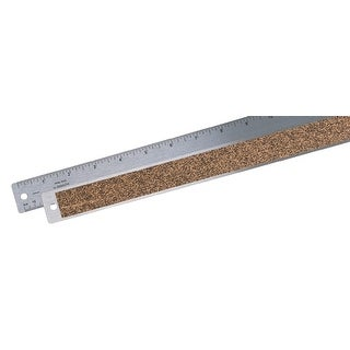 Alvin Inches and Metric Rounded Corner Steel Inking Ruler with Non-Skid Cork Back, 24 X 1-3/25 in