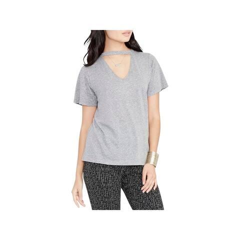 Rachel Rachel Roy Womens Choker T-Shirt V-Neck Textured
