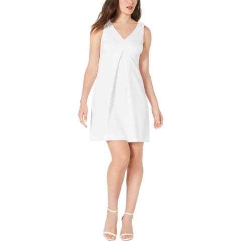 Trina Turk Womens Observer Mini Dress Textured Pleated - White