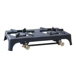 Offex Heavy Duty Cast Iron Portable Double Burner Stove - Black