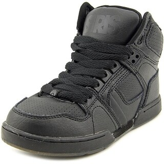 Osiris NYC83 Youth Round Toe Leather Black Skate Shoe