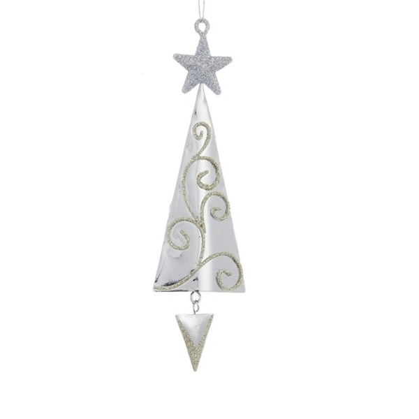 "6.5"" Silver Metal Tree with Gold Swirls and Silver Star Hanging Christmas Ornament"