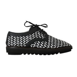 Dolce & Gabbana White Black Woven Leather Casual Shoes