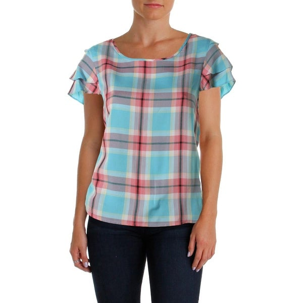 Kensie Womens Casual Top Plaid Flutter Sleeves