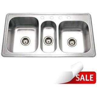 """Houzer PGT-4322 Premiere 41-1/4"""" Triple Basin Drop In 18-Gauge Stainless Steel Kitchen Sink with 40/20/40 Split - Basket"""