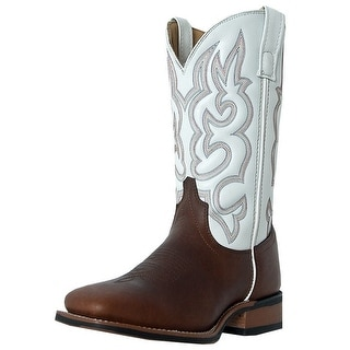 Laredo Western Boots Mens Lodi Stockman Square Toe Redwood White 7891