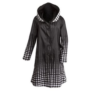 Women's Reversible Illusion Black And White Hooded Long Raincoat