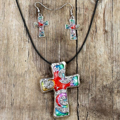 Silvertone Rainbow Mosaic Cross Necklace and Earring Set