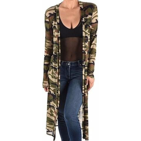Funfash Black Green Kimono Camouflage Camo Mesh Long Cardigan Sweater