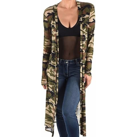 Funfash Black Green Kimono Camouflage Camo Mesh Long Cardigan Sweater
