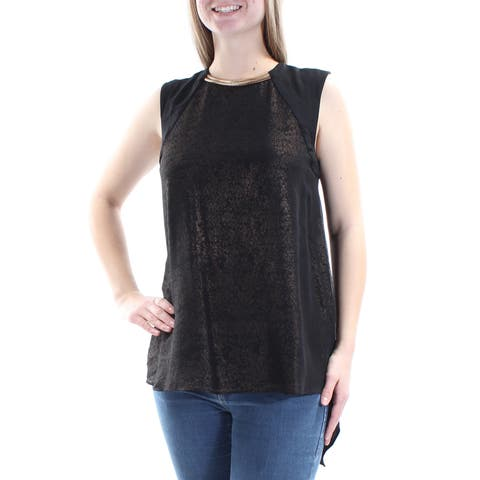 RACHEL ROY Womens Black Embellished Glitter Sleeveless Crew Neck Top Size: S