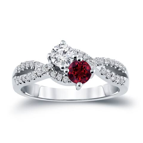 Auriya 14k Gold 2-Stone Ruby and Diamond Engagement Ring 1/2ct TGW 3/4ct TDW