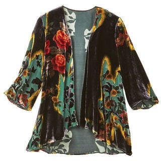 Women's Victorian Garden Black Velvet Fashion Jacket - 3/4 Sleeves