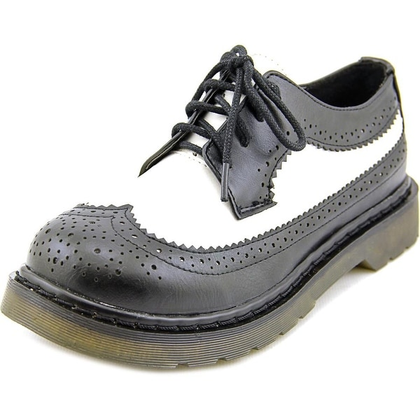 Dirty Laundry Machete Women Wingtip Toe Synthetic Black Oxford