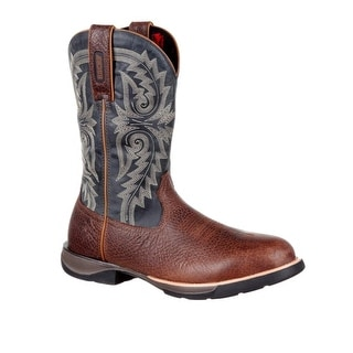 "Rocky Western Boots Mens 12"" Waterproof Pull On Brown RKW0210"