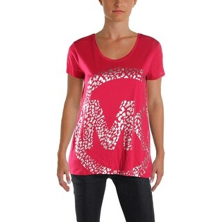 Michael Kors Womens Petites Casual Top Logo Prrinted - pm