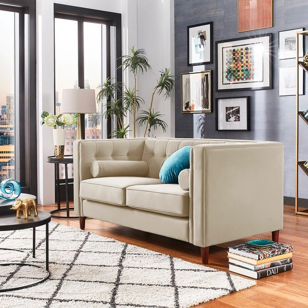 Beverly Tuxedo Faux Leather Loveseat with Accent Pillows by iNSPIRE Q Bold