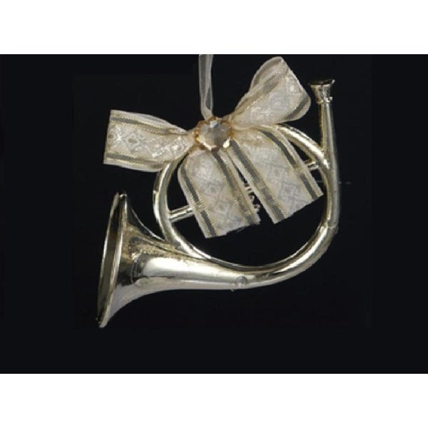 "3.5"" Champagne French Horn with Ribbon Bow Christmas Ornament"