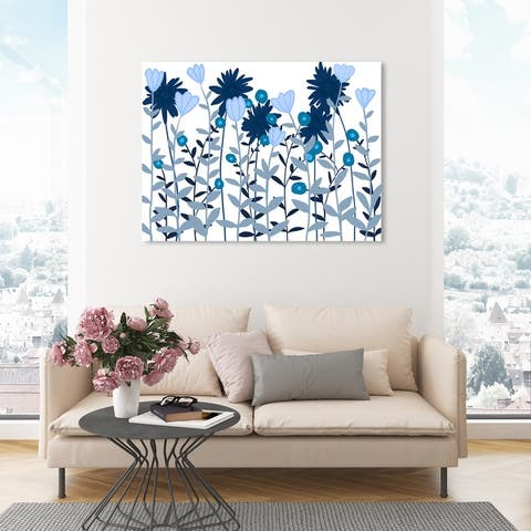 Oliver Gal 'Blue Daisies and Tulips' Floral and Botanical Wall Art Canvas Print Gardens - Blue, White
