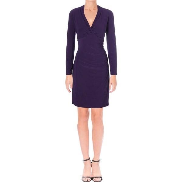 Lauren Ralph Lauren Womens Cocktail Dress Surplice Ruched