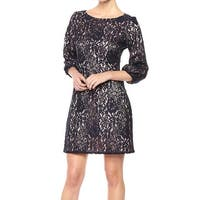 Jessica Howard Navy Blue Womens Size 16 Floral-Lace Shift Dress