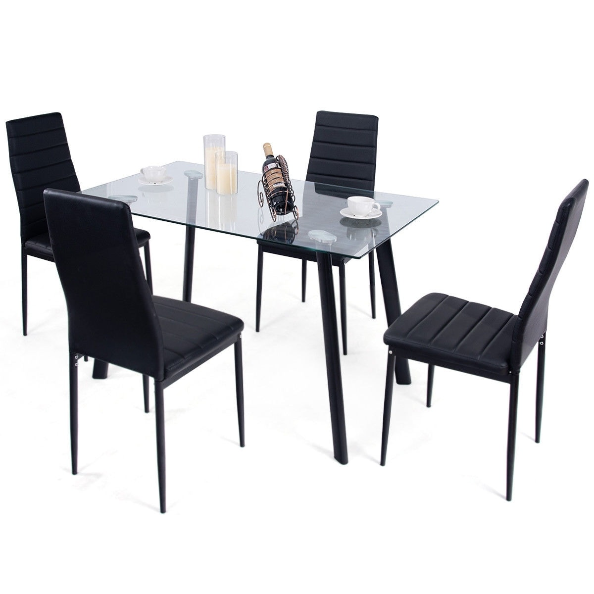 Gentil Shop Costway Modern Glass Dining Table Set Tempered Glass Top U0026 PVC Leather  Chair W/4 Chairs Black   Free Shipping Today   Overstock   21620974