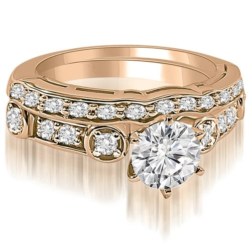 1.00 cttw. 14K Rose Gold Vintage Round Cut Diamond Bridal Set